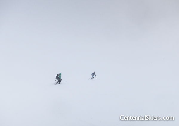 Christy and Dav ski down the lower slopes.