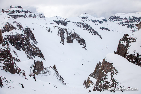 The wide angle shot. This couloir reminded me of the well-known Grizzly Couloir, but I think this one is even better.