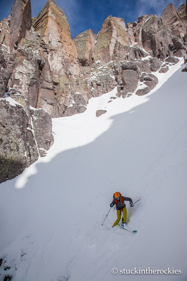 Christy Mahon in the North Couloir of Potosi Peak. #kaestle #tx97