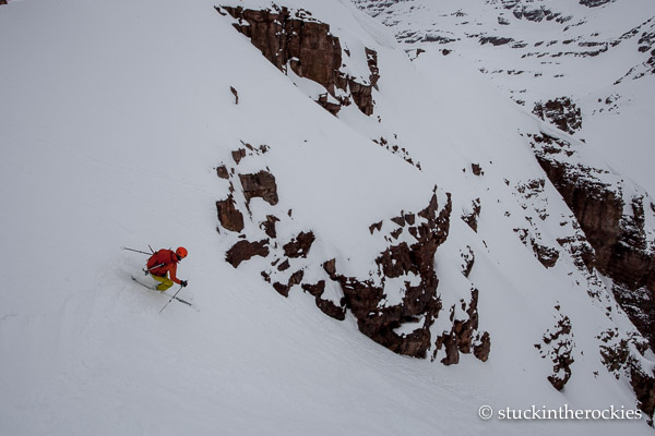 Christy Mahon skis the northeast couloir of Belleview Mountain