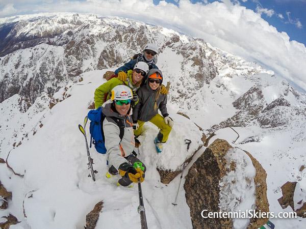 Centennial Skiers on turret peak