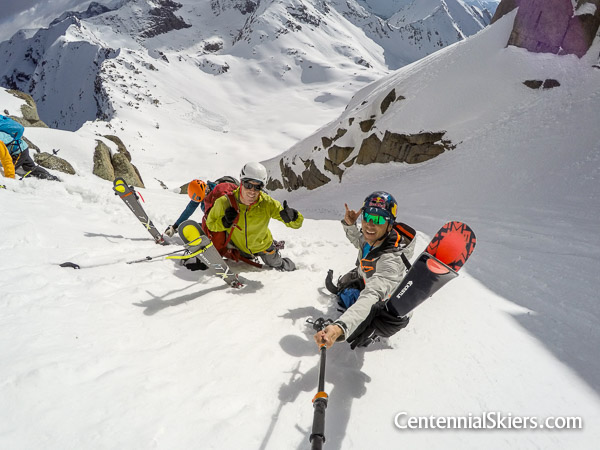 Ted Mahon and Chris Davenport in the Jagged Mountain Couloir