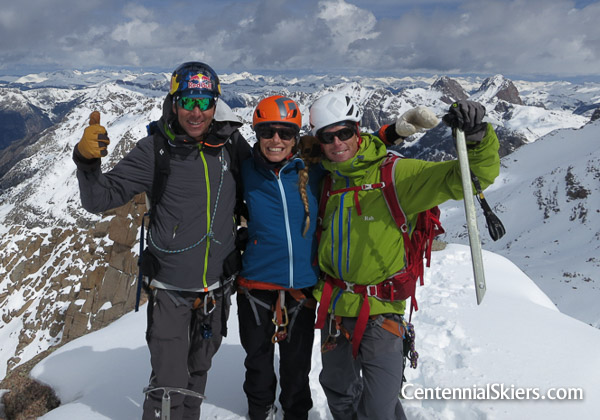 The Centennial Skiers on the summit of Jagged Mountain.