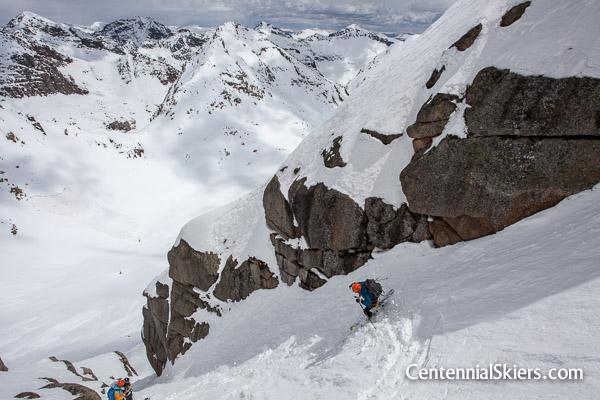 Christy Mahon skis Jagged Mountain