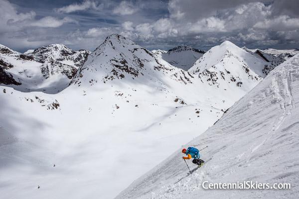 Pete Gaston skis Jagged Mountain