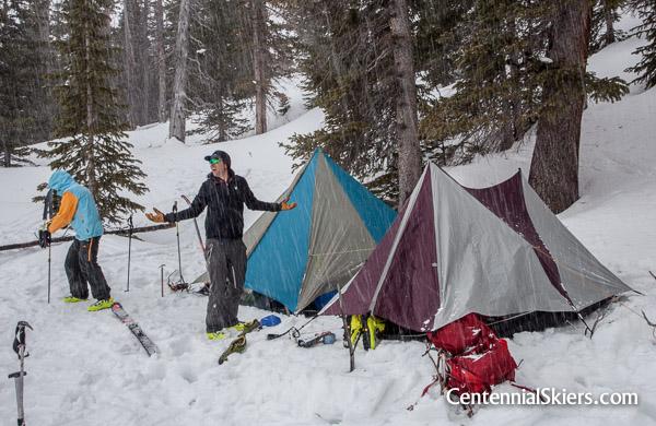 Chris Davenport and Pete Gaston at high camp below Jagged Pass