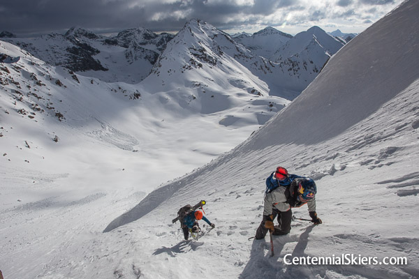 Chris Davenport and Christy Mahon climb the the Jagged Couloir