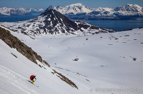 Christy Mahon skiing near Storgalten in the Northen Lyngen Alps