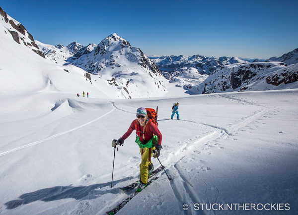 Christy Mahon skiing up by the Trollfjordhytte