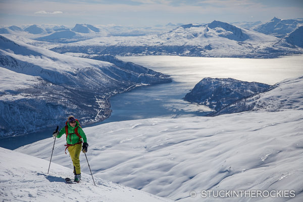 Christy Mahon skinning up Tromsdalstinden
