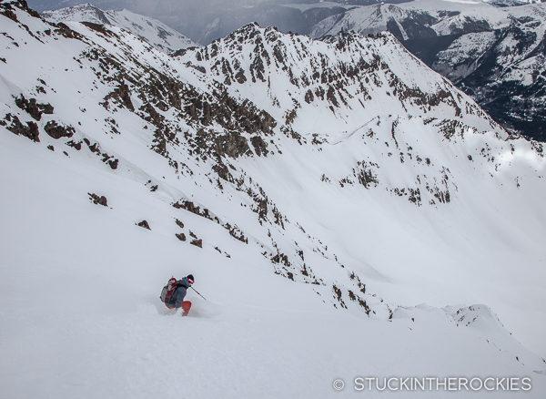Andy Docken skis the East Face of Castle Peak