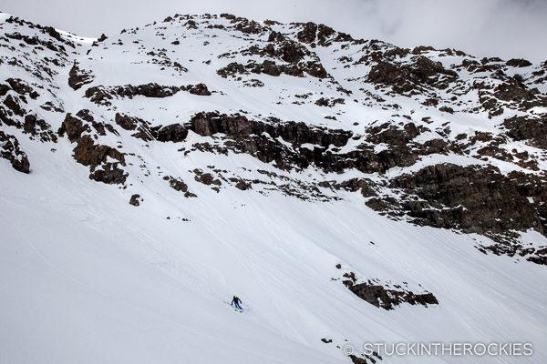 Kim Levin skis the East Face of Castle Peak.