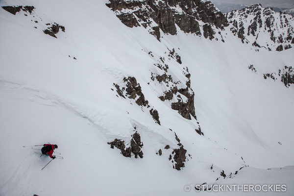 Jess Humphrey skis the East Face of Castle Peak