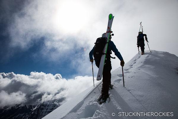 Jon Kedrowski and Chris Davenport at the summit of North Maroon Peak.