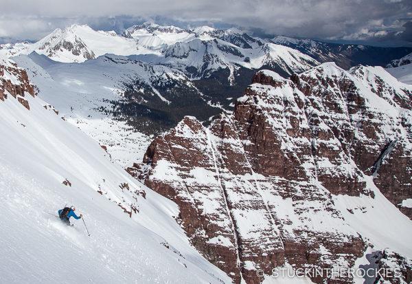 Chris Davenport skiing the North Face of North Maroon Peak.