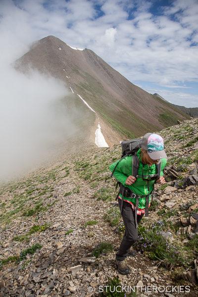 Christy Mahon hiking the ridge to Electric Peak