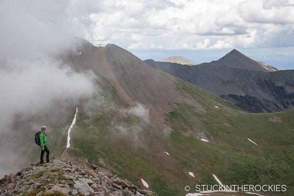 Christy Mahon hiking Electric Peak above Brush Lakes