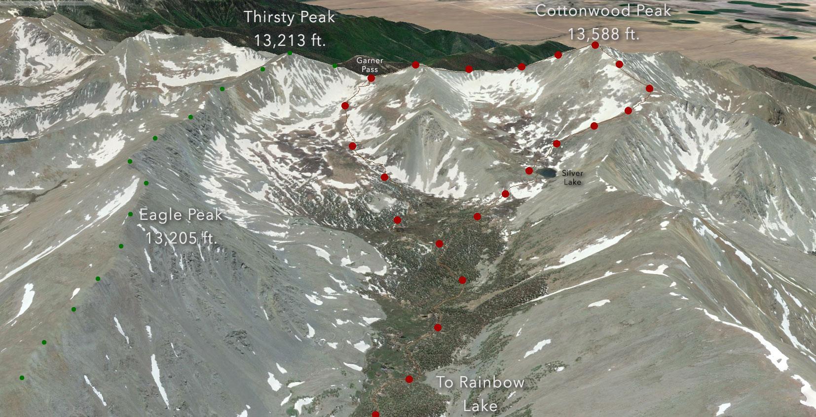 Google Earth overview of our Cottonwood Peak loop.