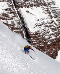 Chris Davenport skis the North Face of North Maroon Peak