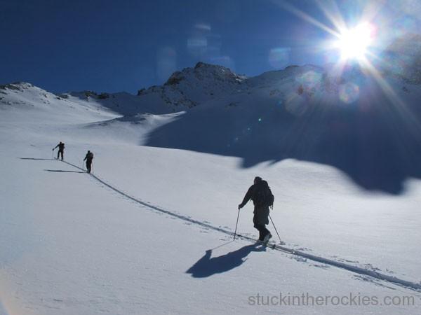 Dirk, Erik Boomer and Tim Mutrie head up towards Pearl Peak.