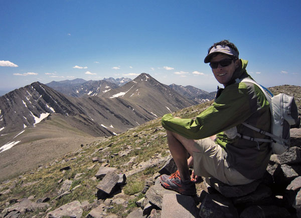 ted mahon on silver peak in the sangres above cotton lake.