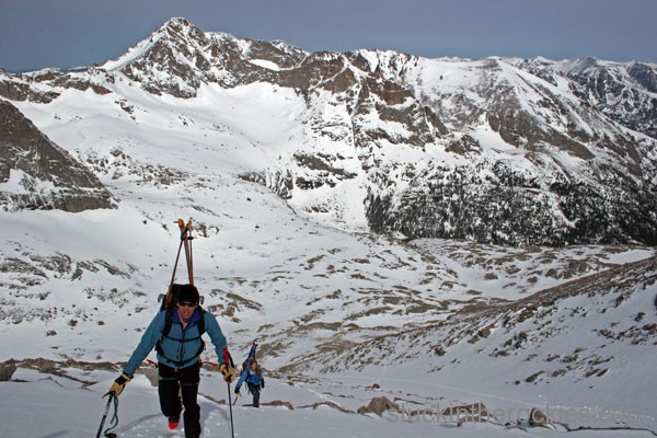 Trough Couloir Longs peak ski 14ers