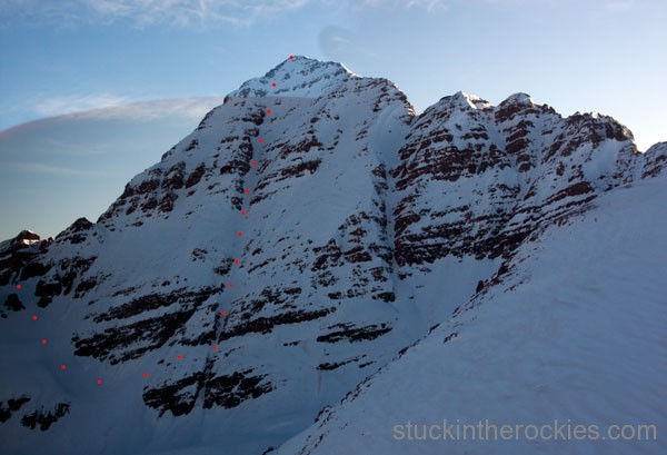 southwest couloir of south maroon