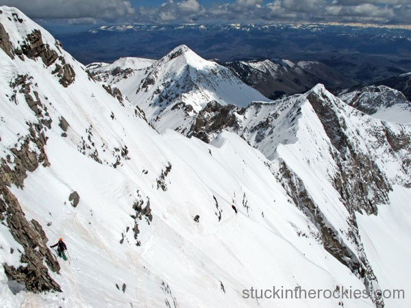 Christy Mahon skiing capitol peak's southeast face
