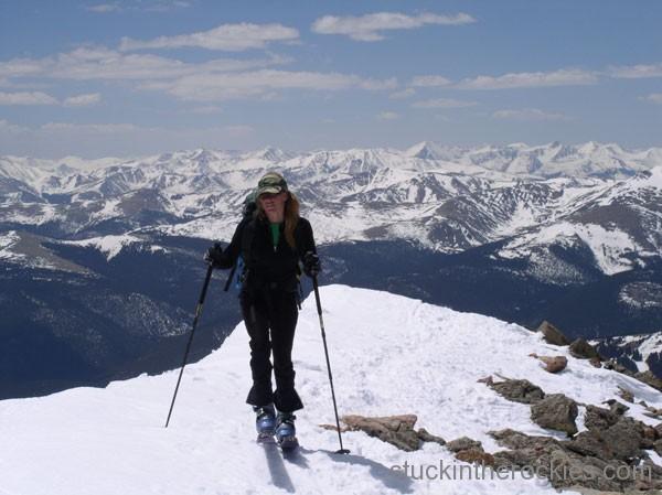 Christy Mahon nearing the summit of Mount Bierstadt.
