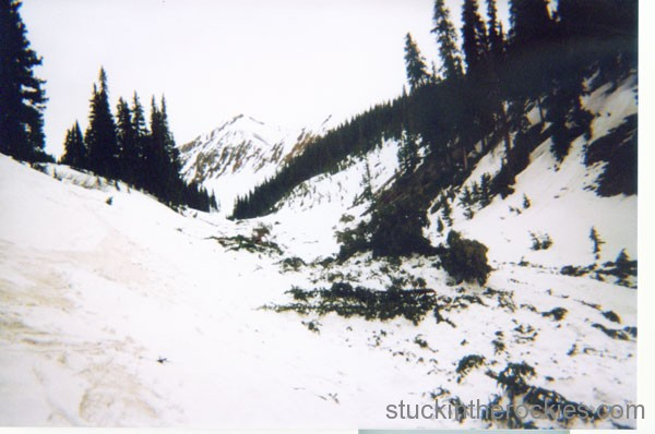 The fork of Silver Creek I skied down through. Tons of debris from earlier slides remained.