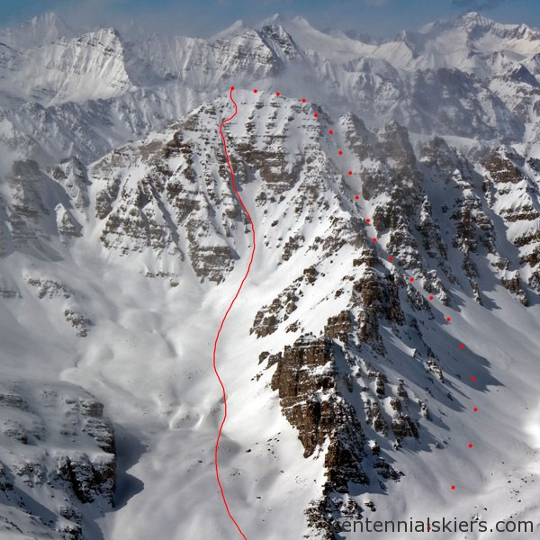 The Pearl Couloir to the right, and the ski descent to the left.