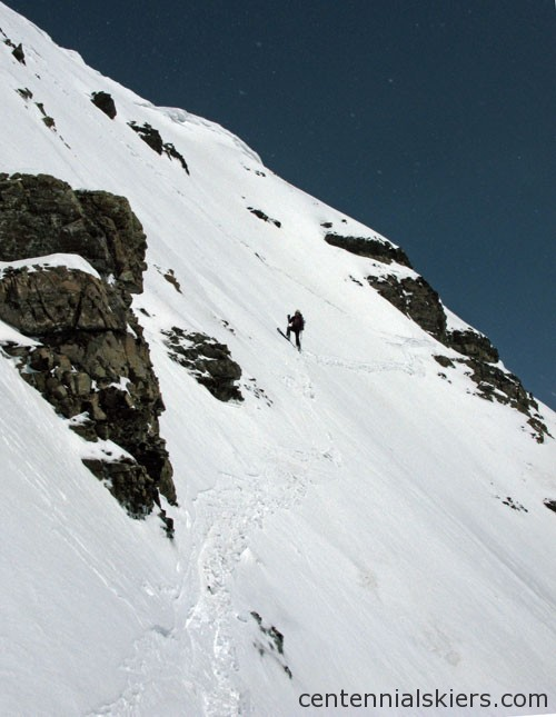 Two traverses off summit through the steep section.