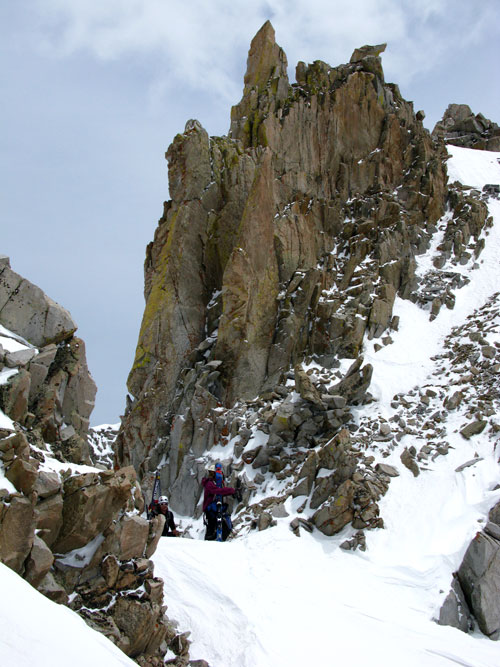 At the top of the couloir where the real climbing began.