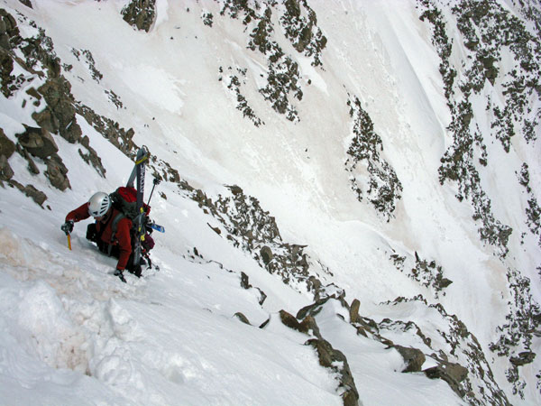 On the steep, mixed face.