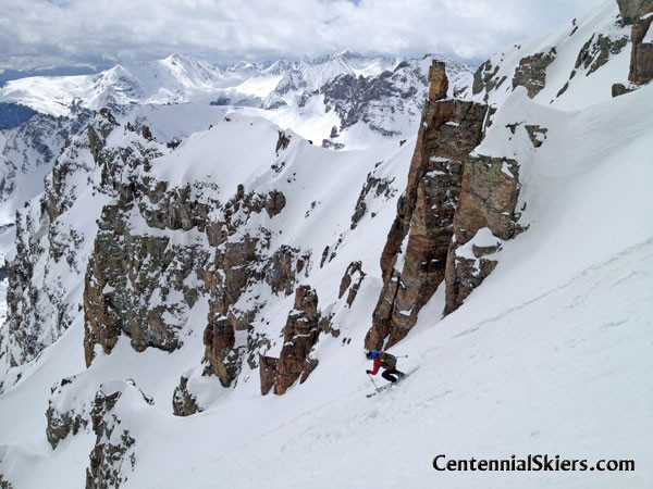 Cathedral Peak, Pearl Couloir, Centennial Skiers, mark fallender