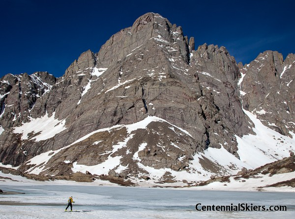 Crossing Upper South Colony Lake, under the dramatic Crestone Needle
