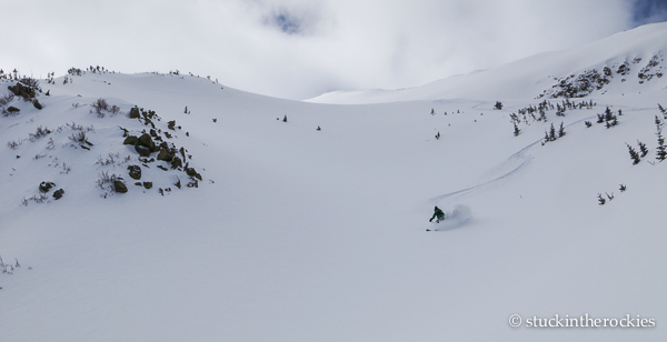 Christy slashing the powder in Twin Gullies.