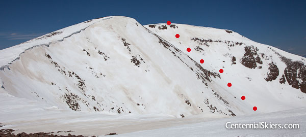 Once back up on the ridge, our route down the east side was in view, marked in red.