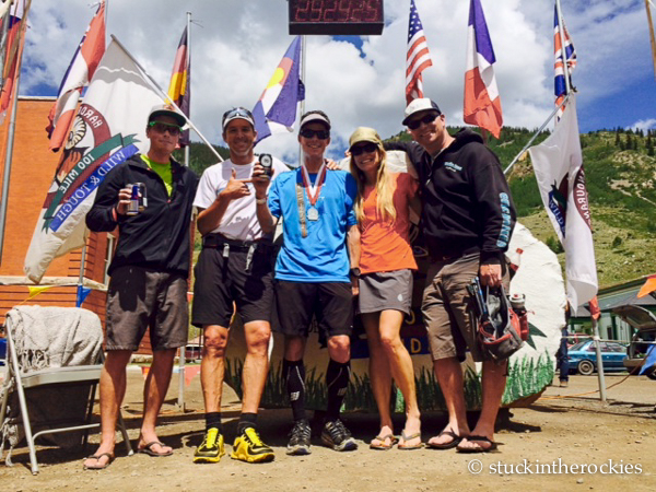 Pacing/crew team at the finish of the Hardrock100