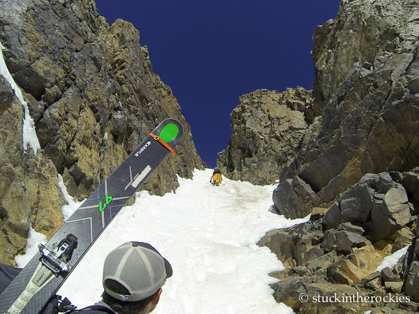 Ted Mahon in the Conundrum Couloir.