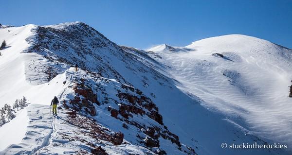 Skinning up the north ridge of Sievers Mountain