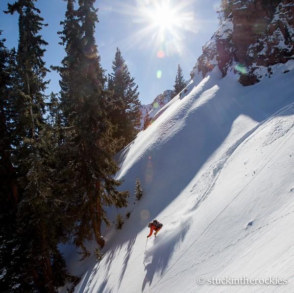 Joey Giampaolo skis Sievers Mountain