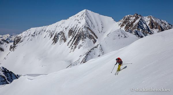 CHristy Mahon skis Taylor Peak