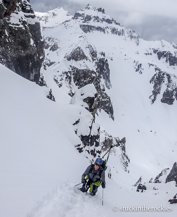 Ted Mahon climbing the north couloir of Potosi peak