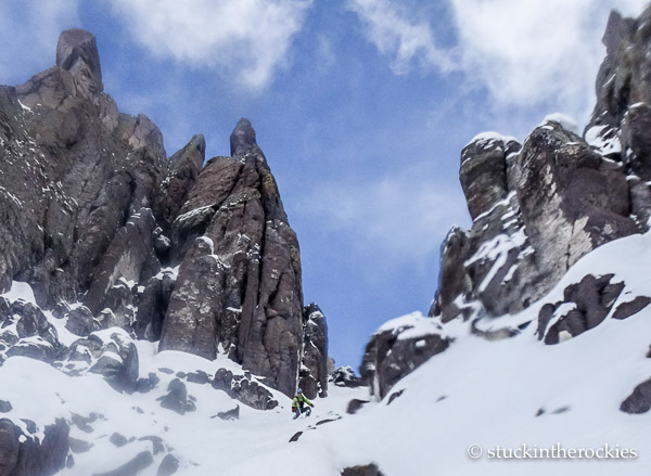 ted mahon skis the north couloir of potosi peak