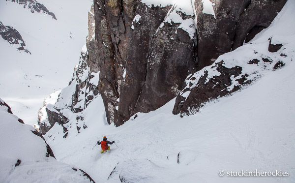 Christy mahon in the pinch of the north couloir of Potosi Peak
