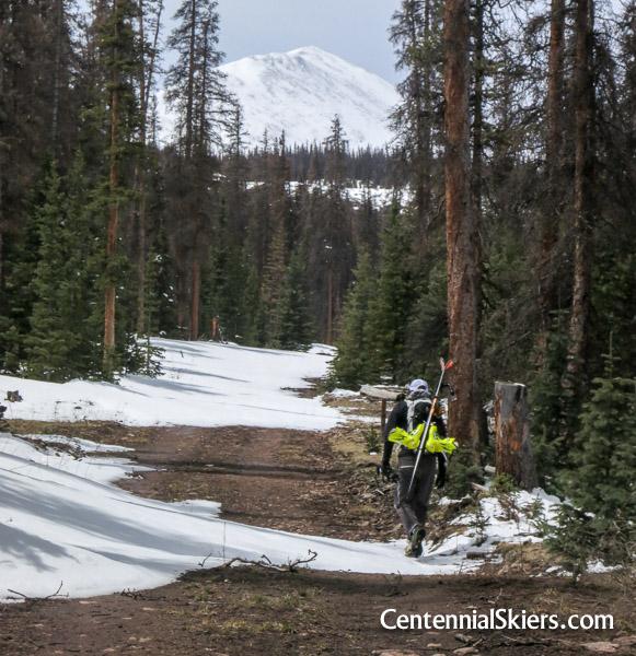 Chris Davenport approaches Mount Stewart.