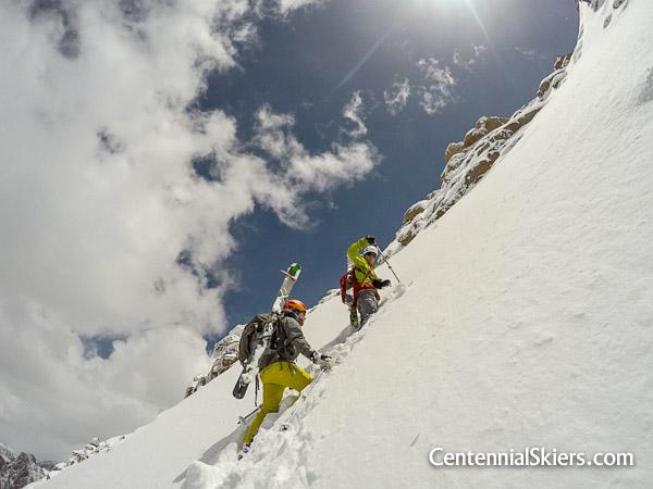 Christy Mahon and Ted Mahon climb Pigeon peak