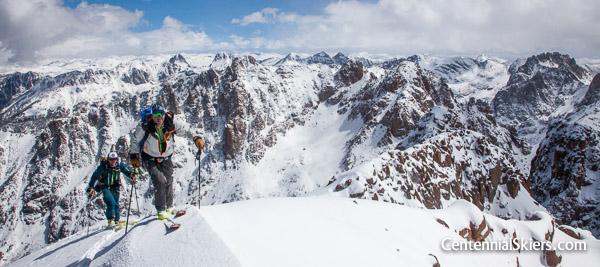 Chris davenport and Ian Fohrman on Turret Peak, 13,835 ft.