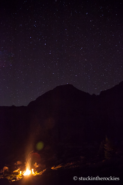 Camp, Clark Peak, and the Big Dipper.